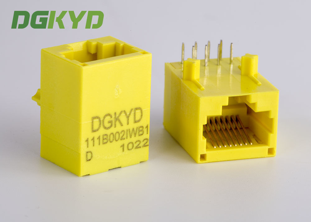 Yellow Color Unshielded Rj45 Modular Jack With Transformer , 100 Base - T